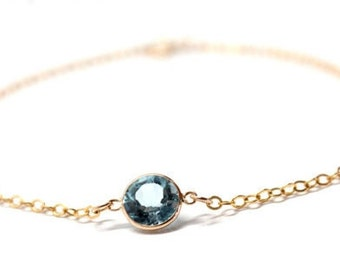 14k Solid Gold Blue Topaz Cable Chain Bracelet - Simple Jewelry - Stackable Gold Bracelets - Gift for Her - Birthday Gift - Fall Jew