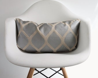 aya in metallic silver on natural organic hemp 12x21 pillow cover