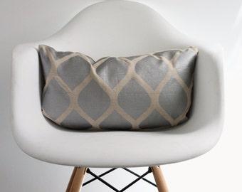 aya in metallic silver on natural organic hemp 12x21 pillow cover