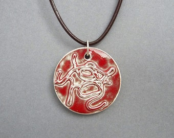 Ceramic Jewelry, Ceramic Pendant, Statement Jewelry, Burgundy Pendant