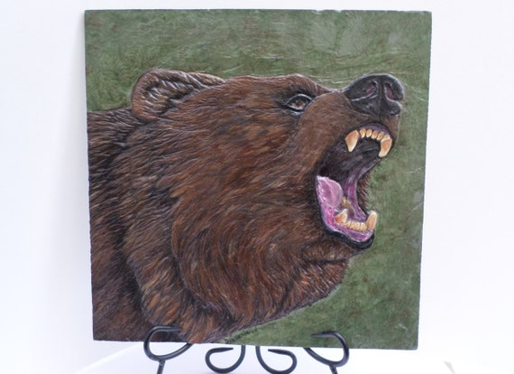 Grizzly bear relief carved on slate stone by adragonflysfancy