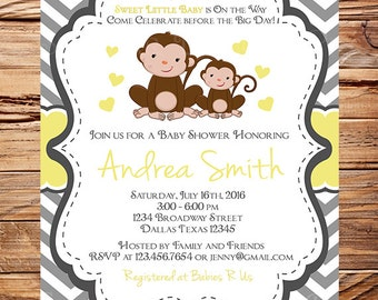 Monkey Baby shower Invitation, baby shower invitation monkey, yellow, gray, Girl, boy, gender neutral, monkeys baby shower, 1677