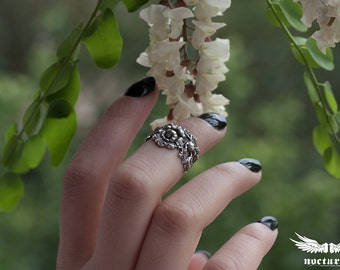 Knuckle Ring - Silver Midi Ring with Floral Design - Victorian Gothic Jewelry