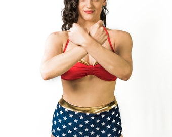 "Wonder Woman-Inspired High Waist Swimsuit - ""Diana"""