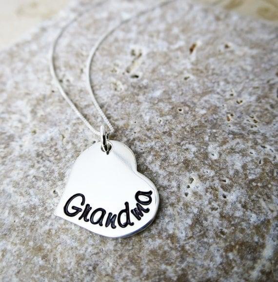 Grandma Necklace - Sterling Silver Heart Jewelry - Gift for Grandma - Script Font - Grandkids' Birthstones - Swarovski Crystals - Granny