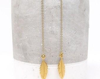 Feather Threader Earrings - Earring Threader - Earring Threads - Feather Earrings