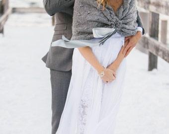 Grey Wedding Shawl,Bridal Shrug Bolero,Bridal Wedding Stole, White Wedding Capelet,Wedding Cape,Bridal Cover up, Bridal Wrap,Wedding Shrug