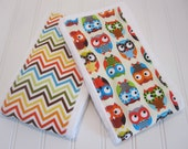 Burp Cloths/Set of Two/Bright Owls in Cream/100% Cotton