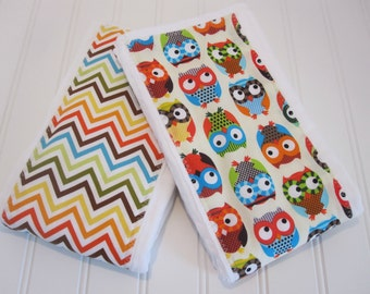 CLEARANCE/Burp Cloths/Set of Two/Bright Owls in Cream/100% Cotton