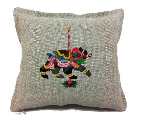 Carousel animals embroidered pillow covers by audreyshandmade