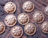 10 tarnished gold colour round metal Turkoaman coin discs