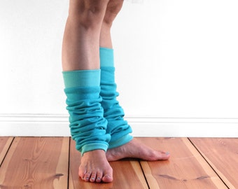 Slouchy dancer leg warmers, ballet leg warmers, cotton aqua blue, teal blue cuffed legwarmers, vegan friendly, gift for dancer
