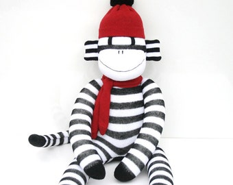 Pauly the Sock Monkey - black and white stripes with red- *READY TO SHIP*
