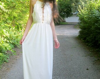 adore - vintage 1960's floral lace paired with organic hemp ivory bohemian chic hippie victorian wedding maxi dress small