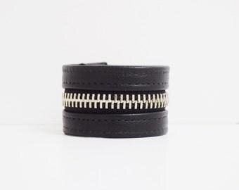 Black Leather Cuff Bracelet -Silver Zipper, Black Zipper Bracelet, Jewellery, Jewelry, Zipper Cuff Bracelet, Black Bracelet, Cuff