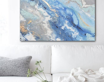 GICLEE PRINT Large Art Abstract Painting Blue White Grey Acrylic Painting Wall Art Home Decor Coastal Wall Decor Marbled Gold Leaf Christine