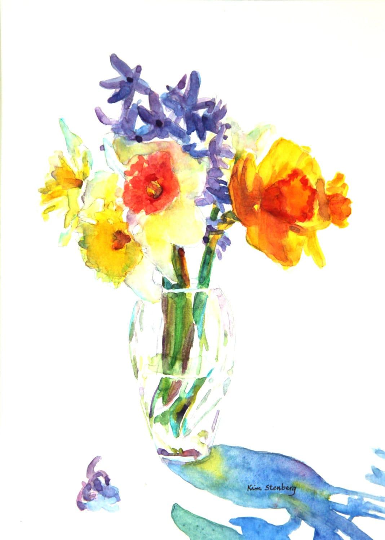 Daffodil Painting Original Watercolor Spring