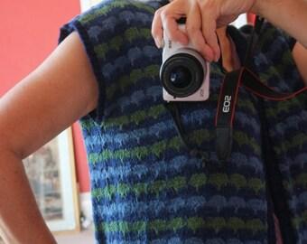 SALE 25% off Fairisle handknit waistcoat blue green L