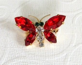 Vintage Rhinestone Butterfly Brooch Pin - Red White Green, Made in Austria, Brass Gold Tone, Mid Century Jewelry, Prong Set,