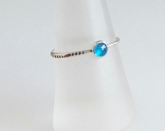 Brazilian Apatite Ring, Neon Apatite Stacking Ring, Tiny Thin Delicate Silver Ring, Blue Gemstone Ring, Promise Ring, Valentine Gift for Her