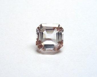 Engagement Ring pale pink Aquamarine Gemstone, Asscher cut 3.94 carats Square Octagon, diamond alternative
