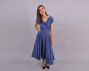 Vintage 50s Floral Silk Dress, Poppy Field Dress, Full Skirt Dress, 50s Garden Dress Δ size: sm