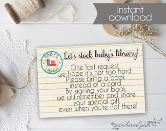 Bring a Book Insert Card - Library Baby Shower - Instant Download - Bring a book instead of a card -  Stock baby's library