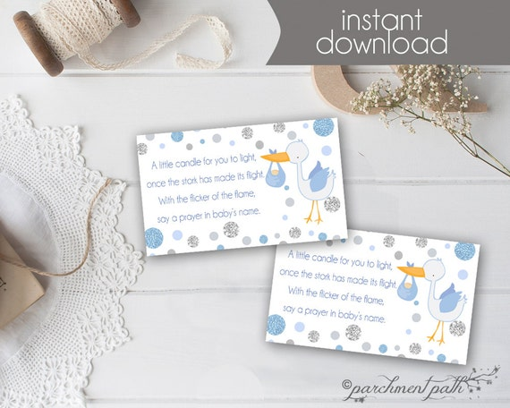 Lovely Baby Shower Favor   Light A Candle Baby Wishes Card   Baby Boy   Printable    Baby Shower   Candle Favor Tag   Printable   Instant Download