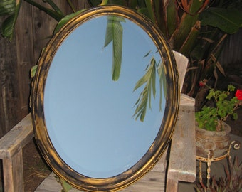 Large Oval Wood Framed Beveled Mirror Upped in a Gothic Shabby Style  Distressed Ebony & Gold