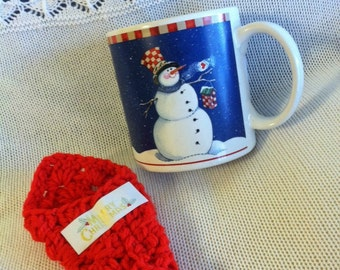 Winter Scene Snowman Mug Vintage Oneida Cup With Snowman at Night Wearing Christmas Top Hat and Scarf Winter Themed Mug Snowman Lovers Cup