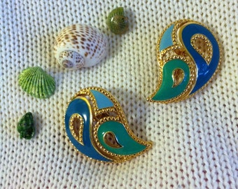 Blue Paisley Earrings Vintage Avon Aqua and Blue Abstract Paisley Shaped Clip On Earrings 1990's Gold and Blue Paisley Jewelry Gift for Her