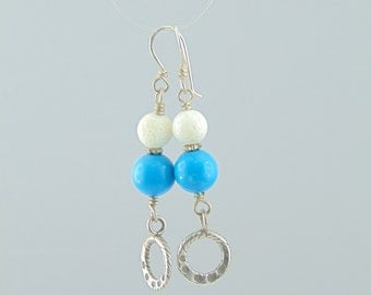 Handmade sterling silver 925 earrings with semi precious stones coral turquoise