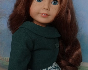 Pretty peplum dress with jacket for American Girl or similar 18 inch doll