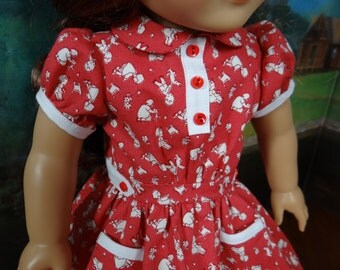 1930's vintage style dress for American Girl Kit, Emily, Ruthie or Molly or similar 18 inch doll.