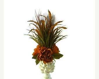 ON SALE 20% OFF Home Decor, Silk Handmade Floral Arrangement, Peony Floral Arrangement, Artichoke Greenery Floral Arrangement, Feather Flora
