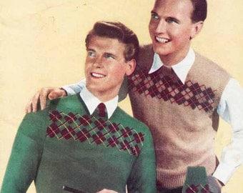 Mens Argyle Sweater 1950s VINTAGE KNIT PATTERN, Shetland Plaid Tank Top & Sox, Retro Sport/Preppy/Hipster, Pdf from GrannyTakesATrip 0330a
