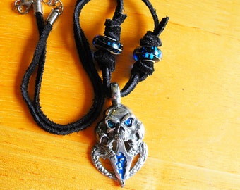 Tribal Bikers Pendant Necklace,  Gothic Skull With Leather Cord and Dark Blue Murano Glass Beads Mens Womens Gift  Handmade