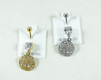 Belly Ring, Tree Of Life Silver or Gold Micro Celtic Charm Womens Gift Handmade