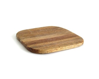 Vintage Wood Cutting Board Small Square Cheese Board - Worn & Distressed Food Photography Prop