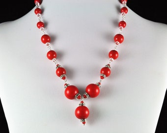 Red or Greeen Bobble Necklace Set