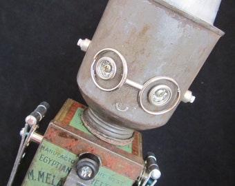 Barry Bot - found object robot sculpture assemblage by Cheri Kudja with Bitti Bots