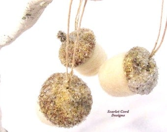 3 Felted Acorns with German Glass Glitter, Wool Acorns, Wedding Favors and Decorations, Christmas Tree Ornament Woodland Theme Set of Three