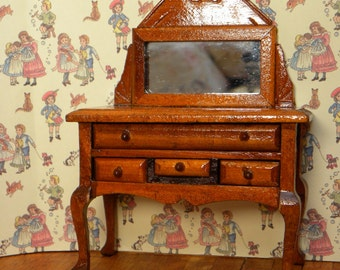 Vintage wooden dollhouse dressingtable