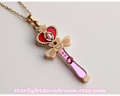 Spiral Heart Moon Rod Sailor Moon Inspired Necklace for Magical Girl Mahou Kei Fashion and Kawaii