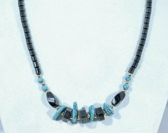 Nice Hematite and Turquoise Bead Necklace