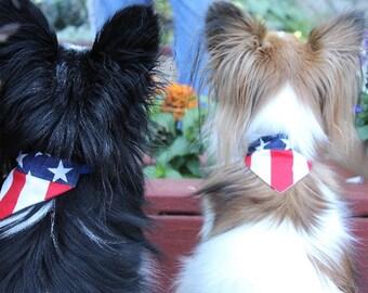 Dog Bandana, XSmall American Flag Slip On Dog Bandana Over the Collar, Chihuahua, Pomeranian, Maltese