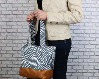 Lulu Medium Tote  Bag Solana Gunmetal Grey and PU Leather with Grey Lining Color- Purse Shoulder Straps 3 pockets Handbag Washable