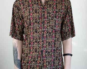 geometric rayon shirt - M