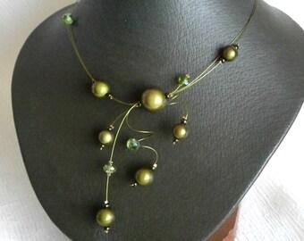 Illusion Necklace, Khaki Necklace, Statement Necklace, Swirls Necklace, Bridal necklace