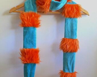 Orange and Teal Faux Fur Scarf